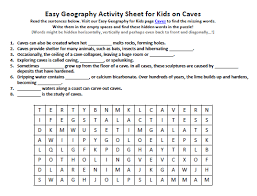 caves worksheet free earth science printable seek word puzzles