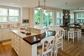 Kitchen Island With Stove And Seating Modern Silver Ceiling Lamp Look Great White Wooden Kitchen Cabinet