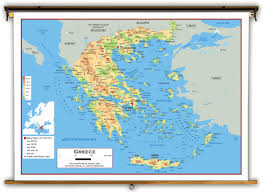 Greece Maps by Greece Physical Educational Wall Map From Academia Maps