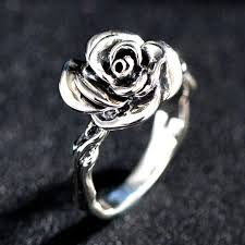 silver rings women images Retro 925 sterling silver rose shaped ring for women silver rings jpg
