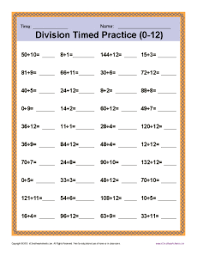 division timed drill 0 12 printable math worksheets