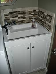 Utility Sink In Laundry Room Add Tile Backsplash To Avoid Paint - Utility sink backsplash