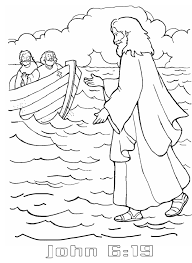 jesus walks on water coloring page coloring page
