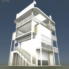 3d model tower house design blender game engine vr ar low