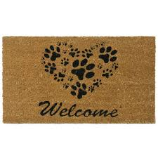 Wipe Your Paws Rubber Backed Three Posts Hannah Heart Shaped Paws Welcome Doormat U0026 Reviews