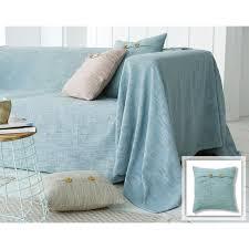 boutis canapé boutis plaid ou jeté de canapé uni tissage en relief becquet bleu