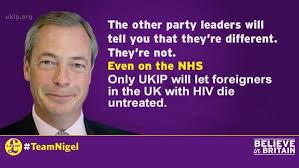 Aids Meme - meme against farage opposing treatment of foreigners for aids on