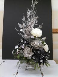 White Christmas Centerpieces - silver black and white christmas floral arrangement at michaels