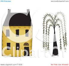 royalty free rf clipart illustration of a yellow two story house