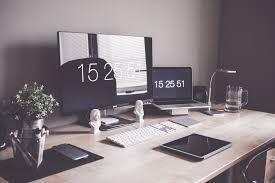 Office Desk Set Up Minimalist Home Office Workspace Desk Setup Free Stock Photo