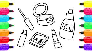 makeup and cosmetics how to draw set for girls coloring book for