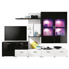 Schreibtisch Hochglanz Schwarz Wohnwand Ultra Weiß Schwarz Hochglanz Ca 300 X 200 X 44 Cm