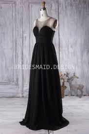 black bridesmaid dresses ruched sweetheart illusion black chiffon modest bridesmaid