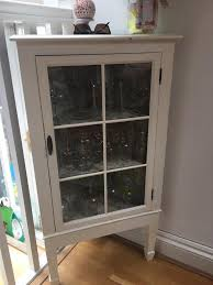 Shabby Chic Corner Cabinet by White Shabby Chic Corner Drinks Cabinet Glass Cupboard In