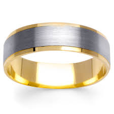 mens two tone gold wedding bands 6mm brushed center 14k two tone gold s wedding band weddings