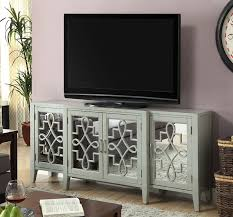 wood and mirrored console table acme 90190 kacia antique gray finish wood and mirrored front 4 door