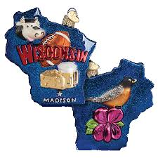 world ornaments state of wisconsin glass ornament 35167