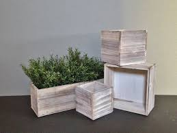 white washed cedar wood succulent planter box rustic planter