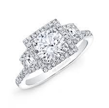 halo engagement ring settings only 18k white gold square halo trapezoid side engagement