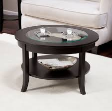 furniture fine black small round coffee table with glass top for
