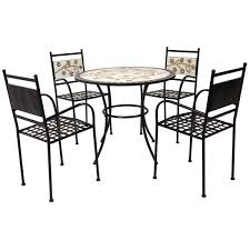 4 seater wrought iron dining set flower mosaic buydirect4