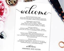wedding itinerary welcome letter wedding itinerary printable welcome letter