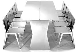 Dining Table And Chairs Set Modern Minimalist Transforming Steel Table Chairs Set