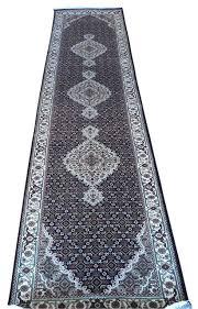 Galaxy Rug 3x12 Hand Knotted Black Mahi Tabriz Oriental Runner Rug