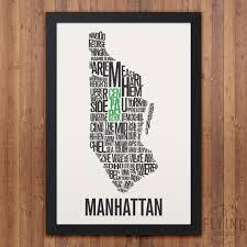 Manhattan Neighborhoods Map Manhattan Nyc Neighborhod Typography City Map Print U2013 Flying