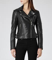 leather biker jacket black quilted leather biker jacket reiss