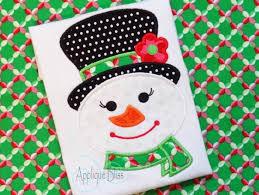 christmas applique girly snowman digital christmas applique design christmas