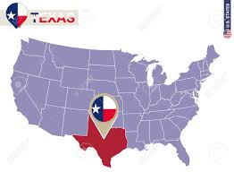 Texas State Flag Texas State On Usa Map Texas Flag And Map Us States Royalty
