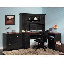Black Desk With Hutch Bush Fairview L Shaped Desk Free Shipping