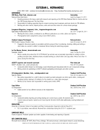 Resume For Summer Internship Resume Esteban L Hernandez