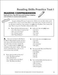 printable reading comprehension test reading skills practice test 1 grade 3 printable test prep