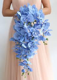 cascading bouquet blue orchid cascading bouquet wedding flowers afloral