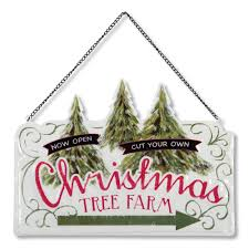 pressed metal christmas sign christmas tree farm