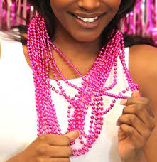 pink beads necklace images Hot pink metallic bead necklaces bachelorette party supplies jpg
