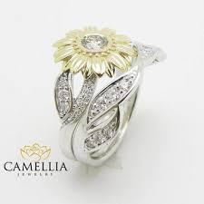 sunflower engagement ring 14k white gold ring flower from camellia jewelry