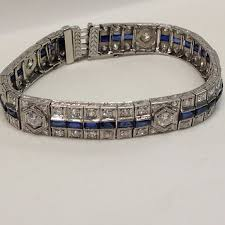 sapphire bracelet with diamonds images Art deco diamond sapphire bracelet village goldsmith antiques jpg