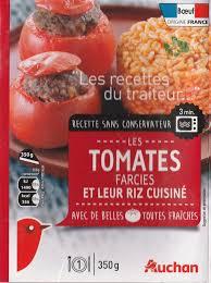 riz cuisiné tomates farcies et leur riz cuisiné auchan 350 g