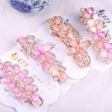 barrette hair women rhinestone flower barrette hair clip cl