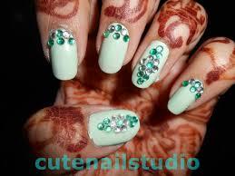 cute nails rhinestones and mint color nail art