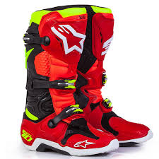 2017 Alpinestars Tech 10 Le Torch Boot Red Black Yellow Fluo