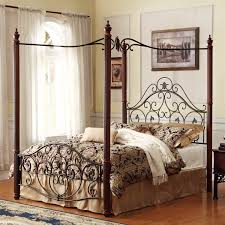 bedroom king size canopy bed with brown four poster which