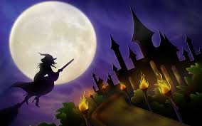 holloween background christmas castle wizard flying halloween background holidays