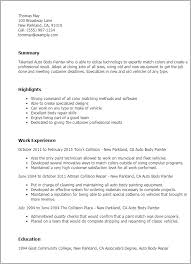Computer Technician Job Description Resume by 5 Auto Body Paint Technician Job Description Job Duties Auto Body