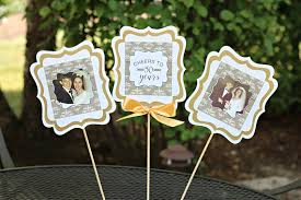 golden anniversary 50th anniversary centerpiece sticks