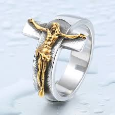 cross rings men images Gold jesus cross ring titanium cool high quality antique rings men jpg