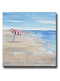 Beech Umbrella Original Art Abstract Painting Seascape Red Beach Umbrella Wall